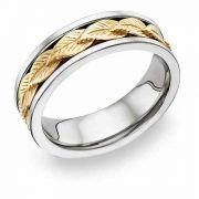 Leaf Design Wedding Band Ring