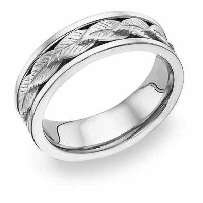 18K White Gold Leaf Design Wedding Band -  - WBAND-26W18K