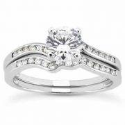 0.60 Carat Modern Diamond Bridal Wedding Ring Set