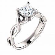 0.75 Carat Platinum Princess-Cut Infinity Diamond Engagement Ring