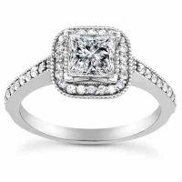 3/4 Carat Princess-Cut Halo Diamond Engagement Ring