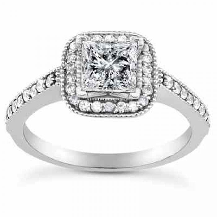 Wedding Rings 1 Carat Princess Cut Halo Diamond Engagement