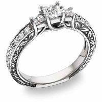 "3/4 Carat Three Stone Princess Cut ""Floret"" Diamond Ring"