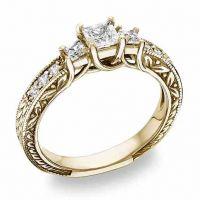 3/4 Carat Three-Stone Princess Diamond Engagement Ring Yellow Gold