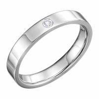 4mm Flat Diamond Wedding Band Ring, 14K White Gold