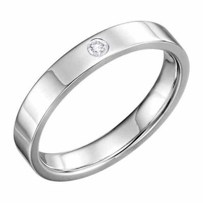 Platinum 4mm Flat Diamond Wedding Band Ring -  - STLRG-123149-4PL