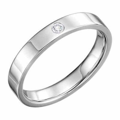 4mm Flat Diamond Wedding Band Ring, 14K White Gold -  - STLRG-123149-4W