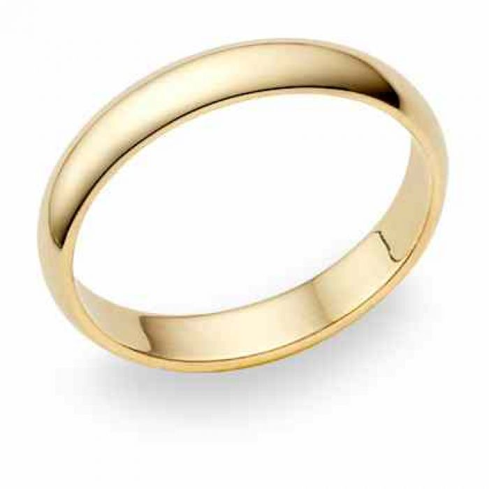 5fba349094669 10K Yellow Gold 4mm Plain Wedding Band Ring