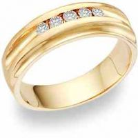 5 Diamond Wedding Band Ring (0.35 Carats)