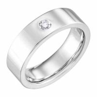 6mm Flat Diamond Wedding Band Ring, 14K White Gold