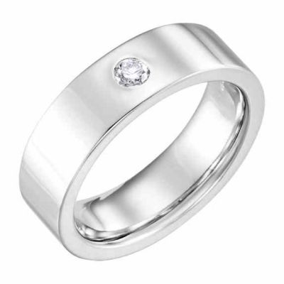 Platinum 6mm Flat Diamond Wedding Band Ring -  - STLRG-123149-6PL