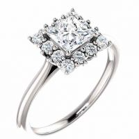 White Topaz Princess-Cut and Diamond Halo Ring, 14K White Gold