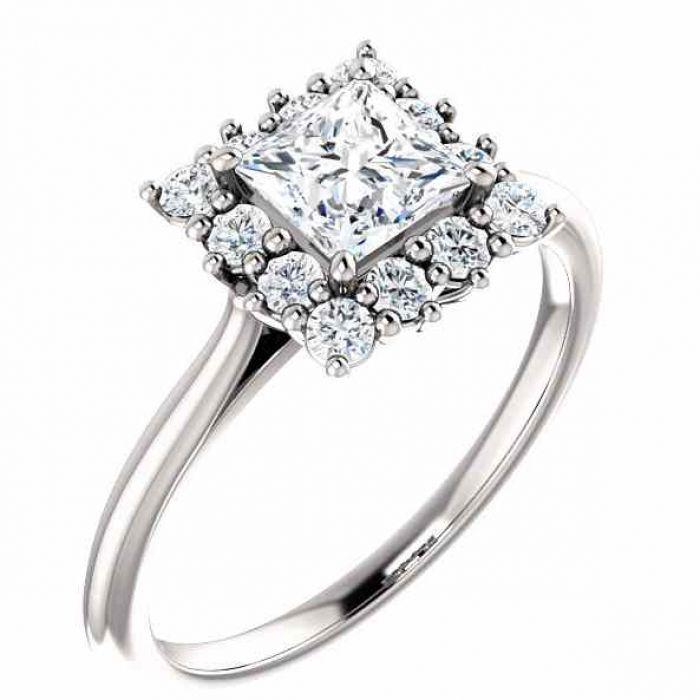 Rings White Topaz Princess Cut And Diamond Halo Ring 14k