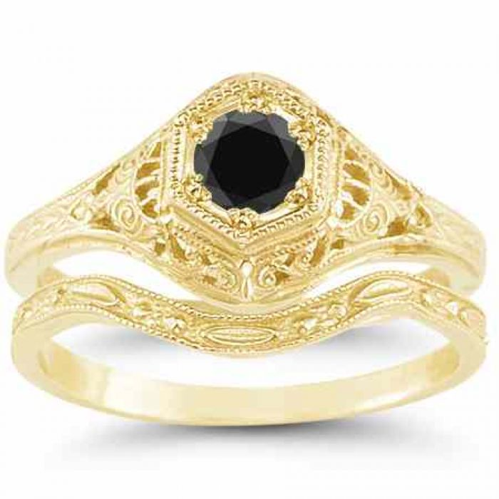 Rings : Antique-Style 1800s Black Diamond Bridal Wedding ...