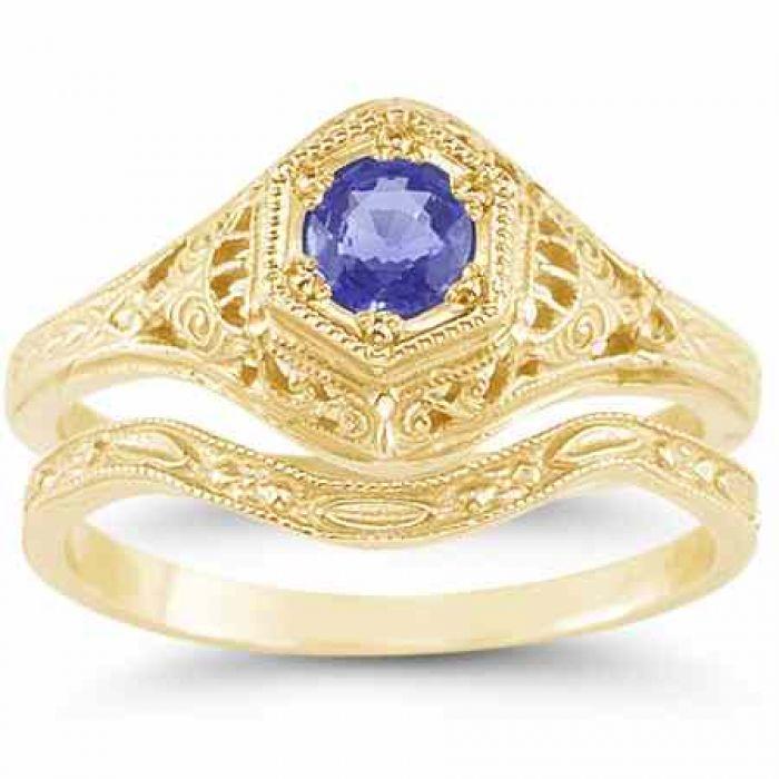 Wedding Rings : Antique-Style 1800s Era Tanzanite ...
