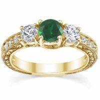 Antique-Style 3-Stone Green Emerald/Diamond Engagement Ring, Gold