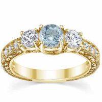 Antique-Style Aquamarine/Diamond 3 Stone Engagement Ring, Yellow Gold
