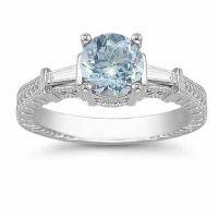 Aquamarine and Baguette Diamond Engagement Ring, 14K White Gold