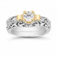 White Topaz Art Deco Engagement Ring Set