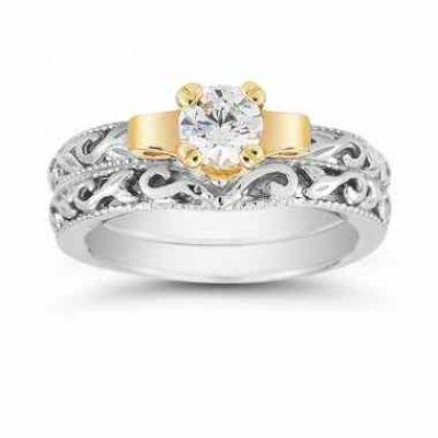 White Topaz Art Deco Engagement Ring Set -  - EGR3900-WTW-Set