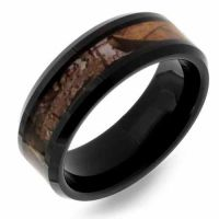 Black Woodlands Camo Tungsten Wedding Band Ring for Men