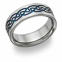 Blue Titanium Celtic Wedding Band Ring