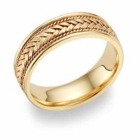 Braided Wedding Band Ring - 14K Gold