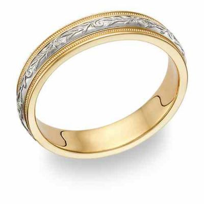Women s Paisley Wedding Band Ring in 14K Gold and Silver -  - WG-11-14KSS