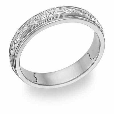 Platinum Paisley Wedding Band Ring -  - WG-11-PLAT