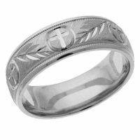 Silver Jerusalem Cross Wedding Band Ring