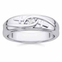 Christian Diamond Cross Wedding Band Ring for Men