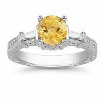 Citrine and Diamond Engraved Engagement Ring, 14K White Gold