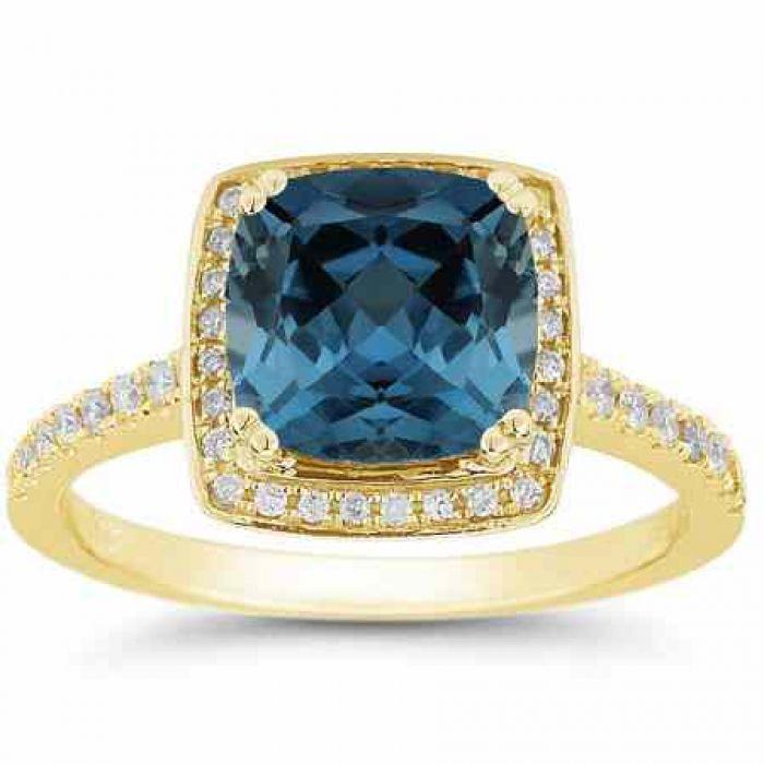 Cushion Cut Deep London Blue Topaz Diamond Halo Ring 14k Yellow Gold