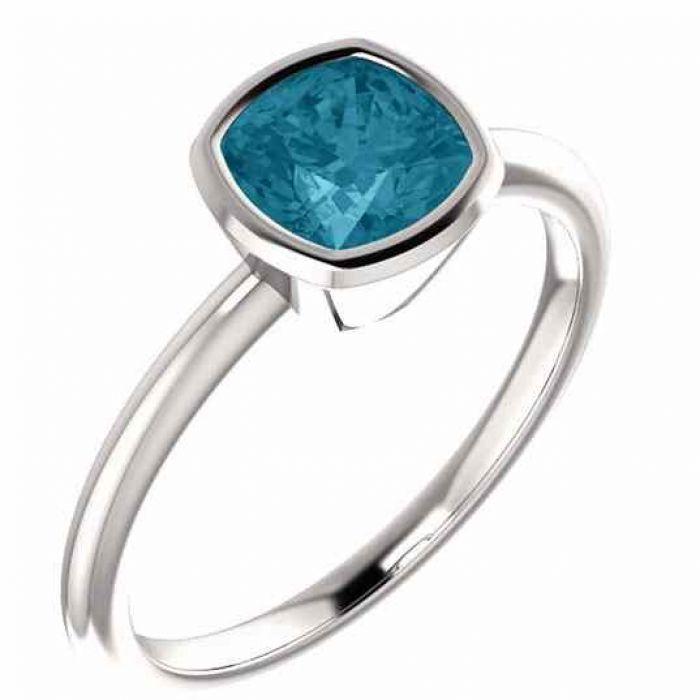 Cushion Cut London Blue Topaz Solitaire Ring 14k White Gold