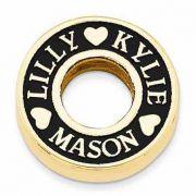 Custom Antiqued Family Trio Name Circle Pendant, 14K Gold