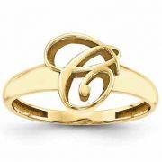 Custom Cursive Initial Ring in 14K Yellow Gold
