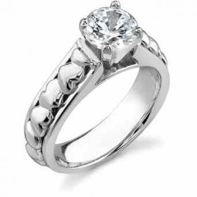 White Topaz Heart Engagement Ring -  - EGRSR-200-WT