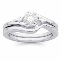 Diamond Cross Christian Wedding and Engagement Ring Set