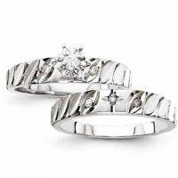 Diamond Cross Engagement Bridal Wedding Ring Set