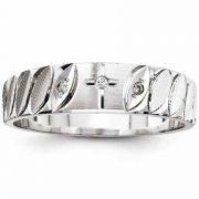 Diamond Cross Wedding Band for Men, 14K White Gold