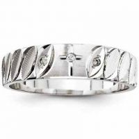 Diamond Cross Wedding Band for Men, 14K White Gold