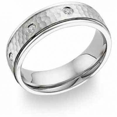Diamond Hammered Wedding Band in 18K White Gold -  - SDB-PA-18K