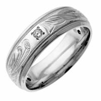 Diamond Paisley Wedding Band Ring, 14K White Gold