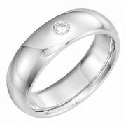 Diamond Solitaire Wedding Band Ring in 14K White Gold