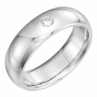 Platinum Diamond Solitaire Wedding Band Ring