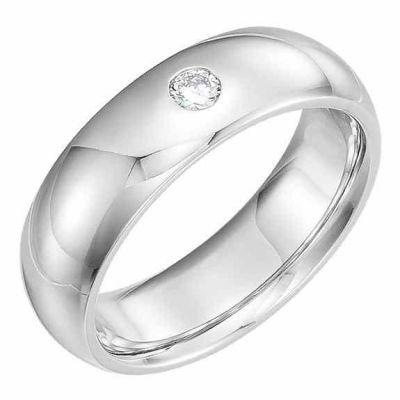 Platinum Diamond Solitaire Wedding Band Ring -  - AOGWB-6MMDPL