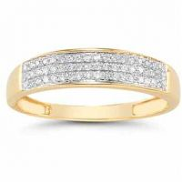 Domed Women's Diamond Wedding Band in 14K Gold