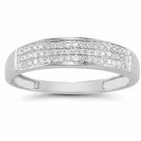 Domed Women's Diamond Wedding Band in 14K White Gold