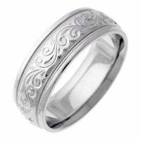 Engraved Platinum Paisley Swirl Wedding Band