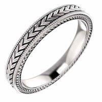 Etched Leaf Design Wedding Band Ring in 14K White Gold